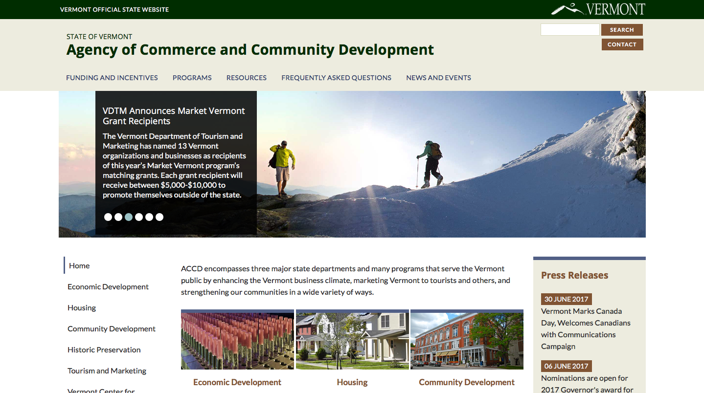 ACCD homepage sample